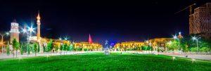 tirana panorama 300x101 - Skanderbeg Square with his statue in Tirana - Albania on July 20, 2017